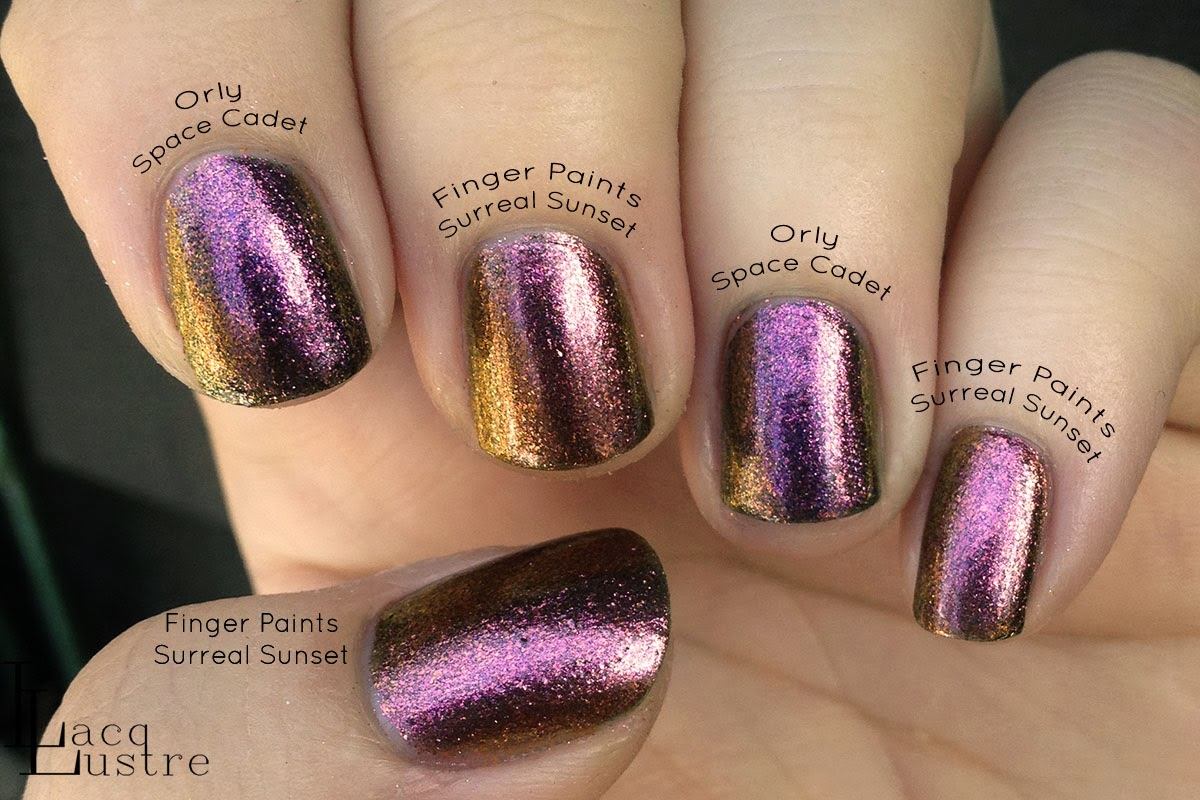 Finger Paints Surreal Sunset Orly Space Cadet Comparison