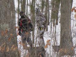 boys walking in woods