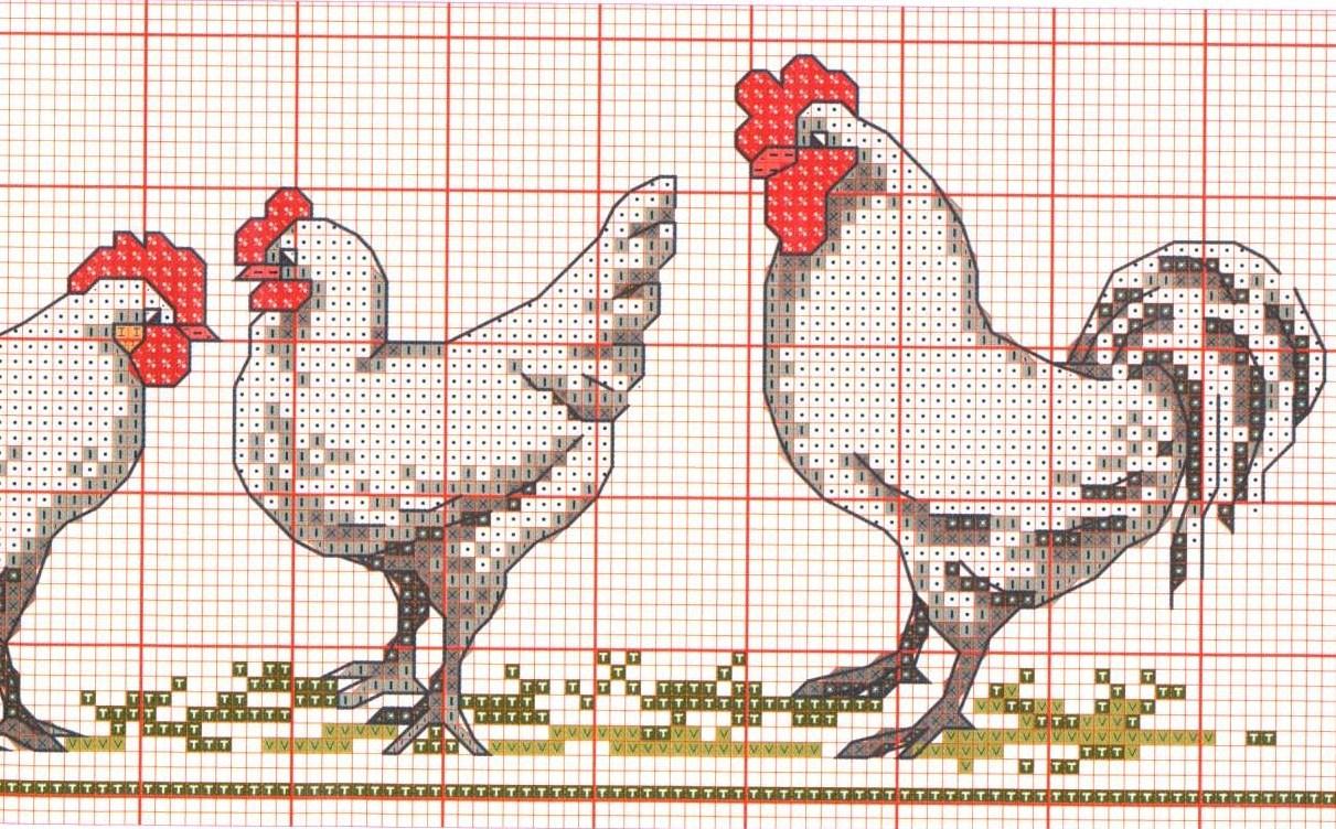 Схема для вышивания крестиком петух фото 451