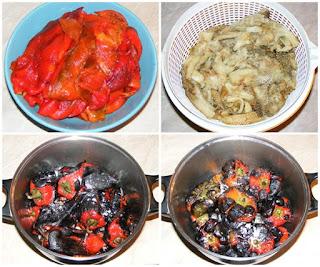 legume coapte si curatate pentru zacusca de casa din legume, cum facem zacusca de vinete ardei capia gogosari si ciuperci, retete culinare,