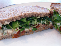Watercress and Houmous on Rye