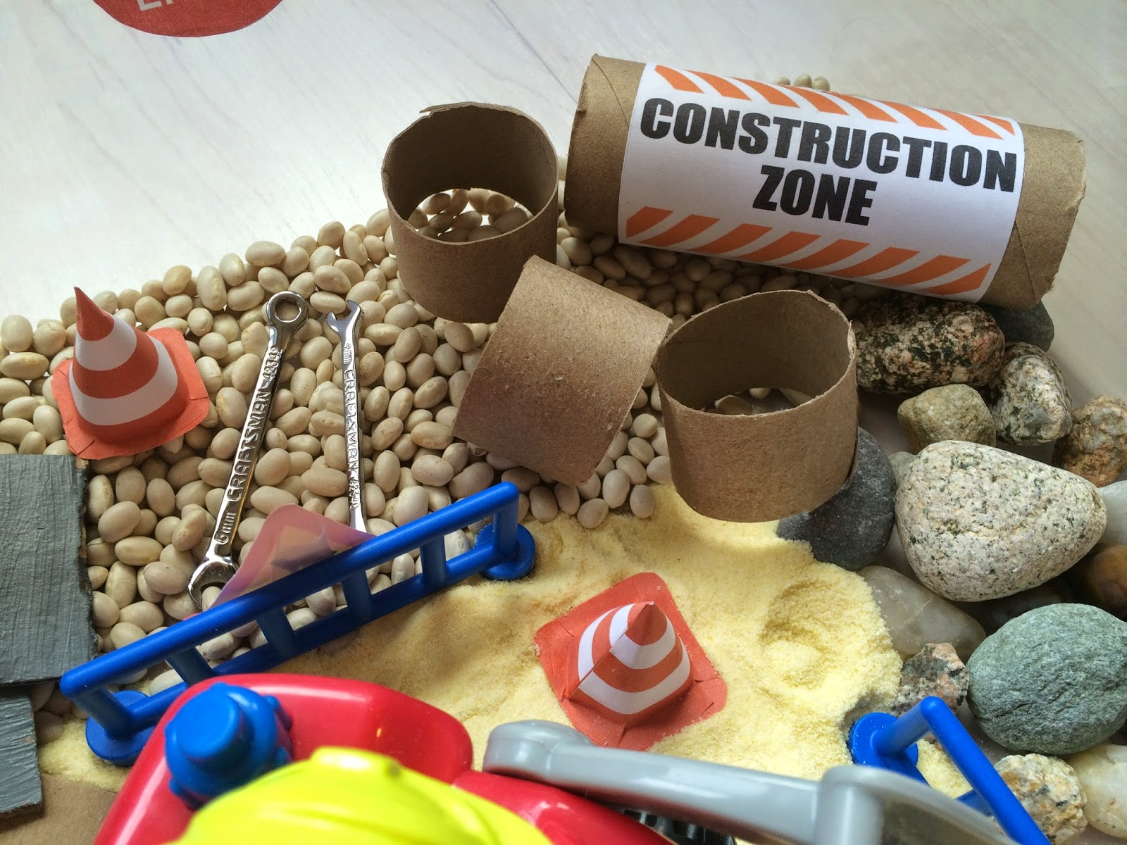 creative projects for kids construction site sensory bin