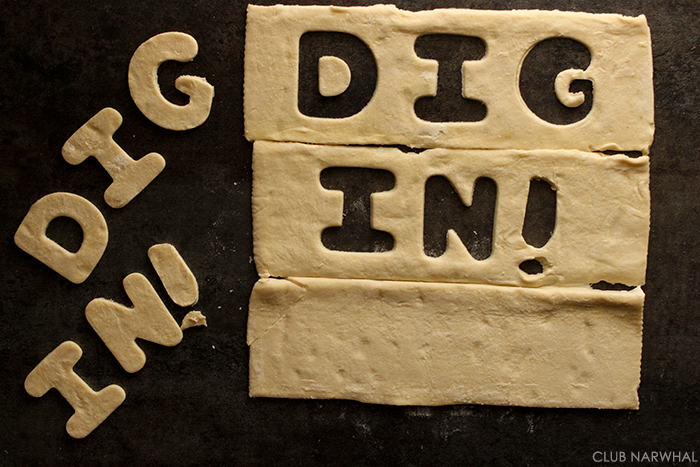 Use cookie cutters to add a fun message to you pies