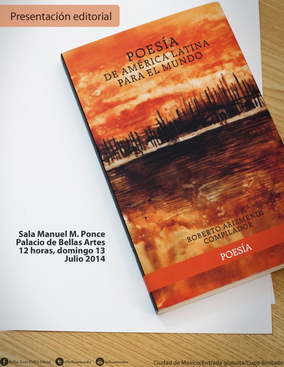 Presentarán compilación de poesía latinoamericana en el Palacio de Bellas Artes