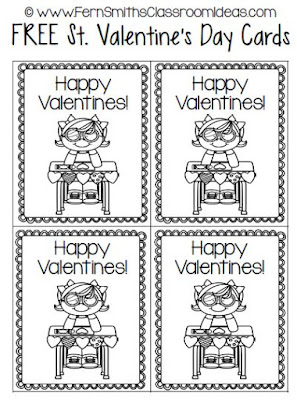 Fern Smith's Classroom Ideas FREE St. Valentine's Day Classroom Valentines Cards For Home or School at TeacherspayTeachers.