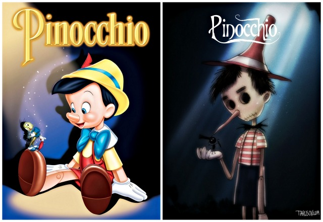 illustrator andrew tarusov redesigns disney s classic movie character pinocchio into tim burton s dark gothic style via