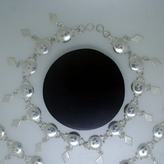 Round Button Designed Sterling Silver Anklets