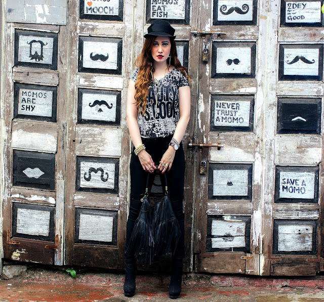 ONLY Statement T-Shirt, ONLY Black Skinny Jeans, Black Hat, H&M Fringe Bag, Goth Fashion