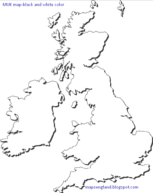 Maps of UK Black and White Color 3