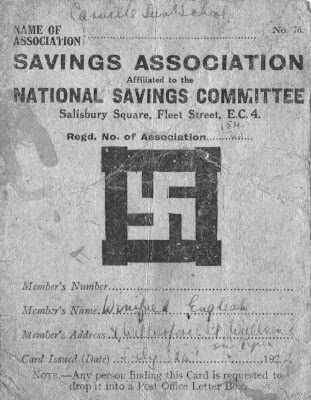 Swastika on National Savings Card from 1920s