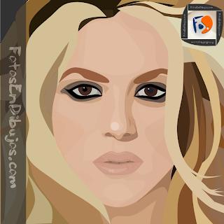 foto en dibujo - retrato - Shakira