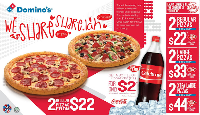 Domino's 2 Pizzas' Deal - Singapore Food Delivery