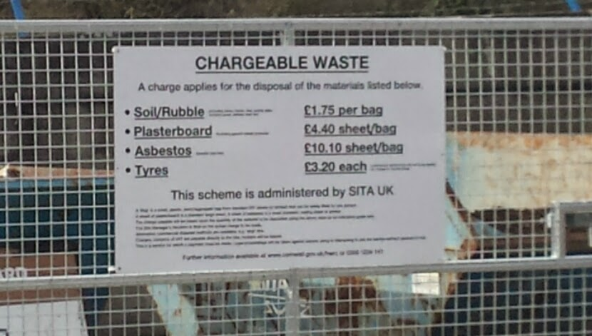Charges to dispose waste at the local tip in Newquay