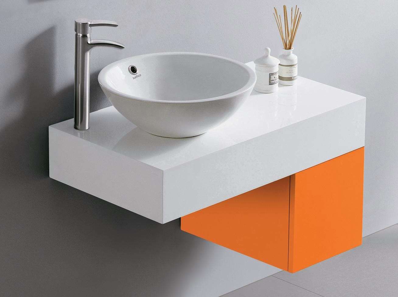 Decoracional muebles de ba o encimeras a todo color for Accesorios bano color naranja