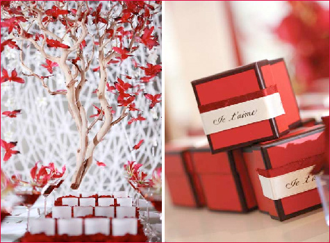 Inspiration Board Red and White Tropical Theme for a Hijabi Wedding