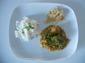 Burmese Pork & Green Mango Curry with Coconut Rice & a Lemon and Onion Relish