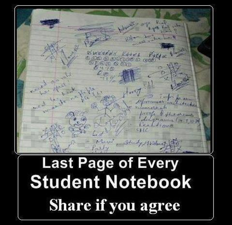 last funny page of students register and notebook
