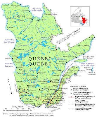 Quebec Map Regional Political Province