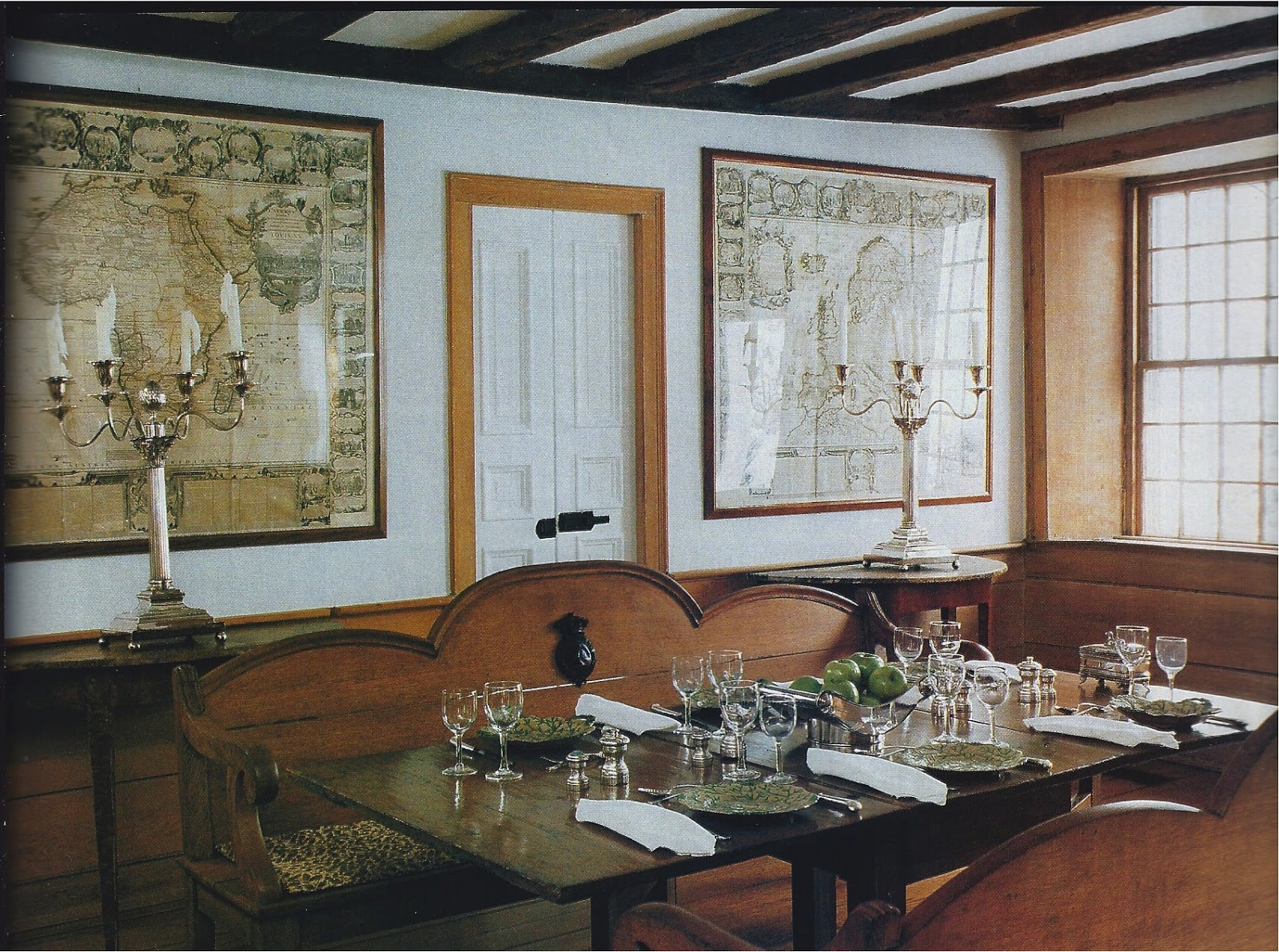 His Dining Room Replete With Antique Maps And Silver Candle Holders Love Simple Table Setting