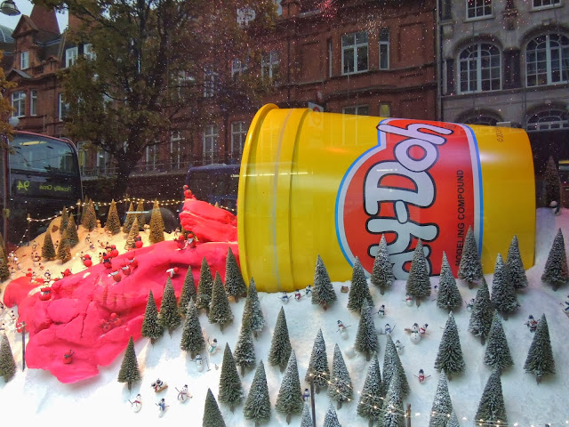 Huge tub of Play-Doh in wintery scene