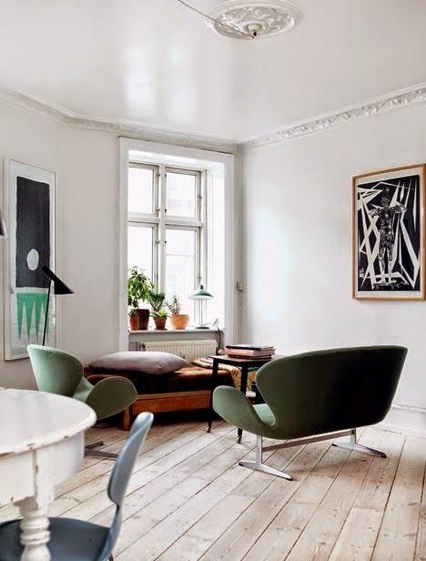 Salon vintage estilo retro en verdes