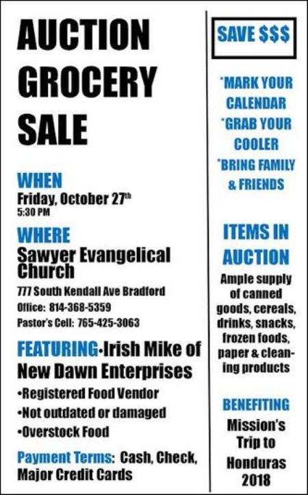 10-27 Grocery Auction, Bradford, PA