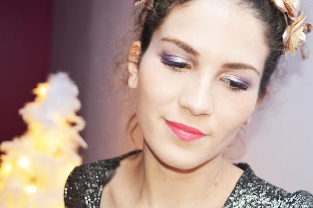 Maquillage de Noël Violet et Doré