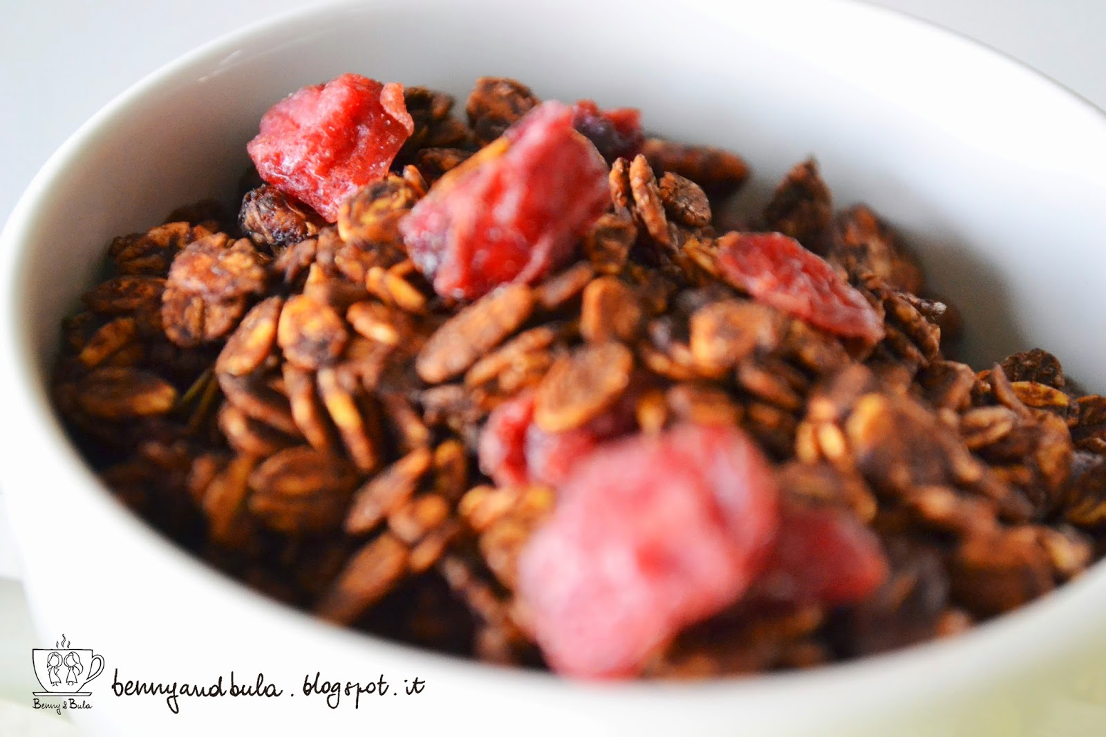 ricetta granola con cacao pistacchi e mirtilli/ homemade granola with cocoa pistachio and berries recipe