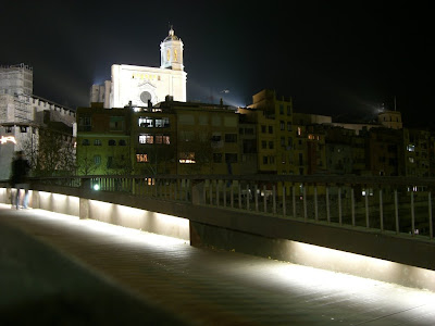 Girona cathedral lit at night