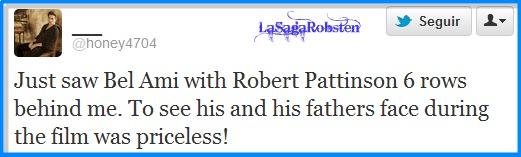 Comentario de una fan sobre Robert durante la proyección de bel Ami. Image
