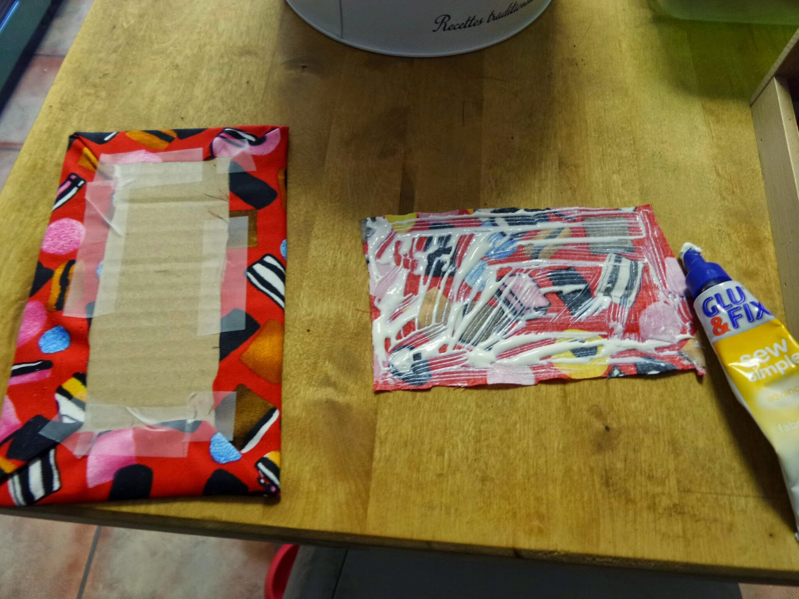 A Fabric Milkman's Wallet being made using Bostik's Sew Simple
