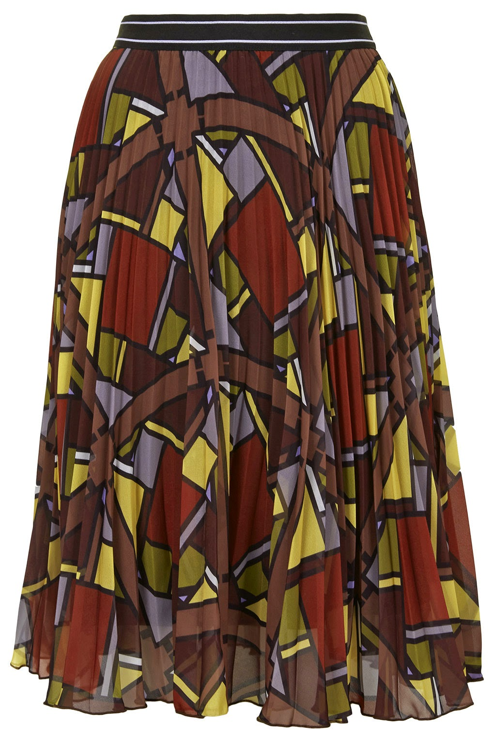 brown patterned midi skirt