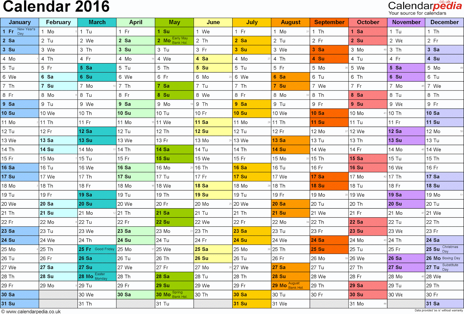 Yearly Events Calendar Template | Calendar Template 2016
