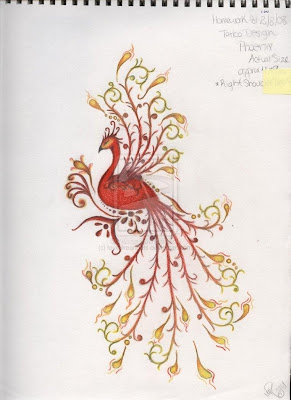 Beautiful phoenix tattoos design for girl