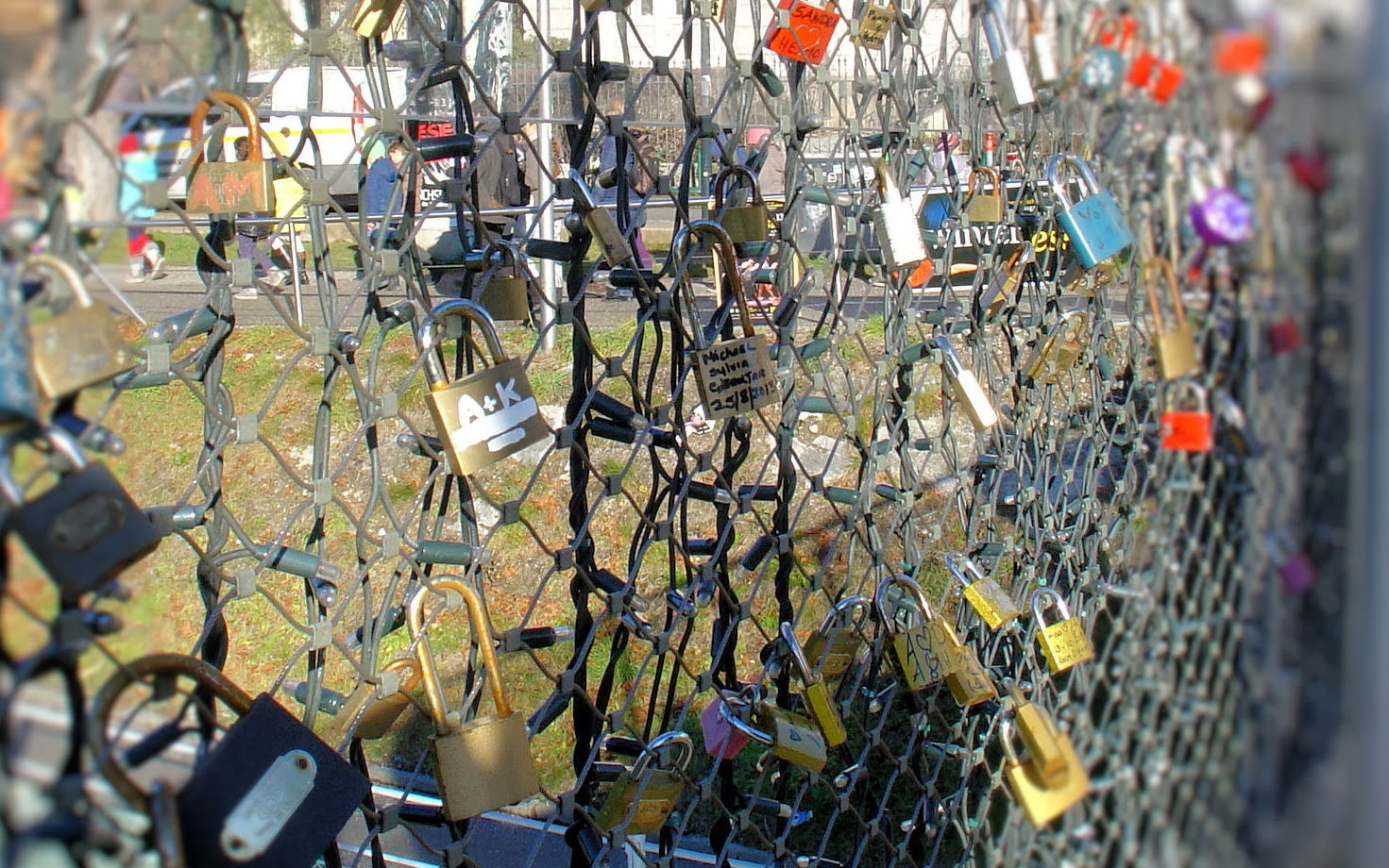 Locks of Love adorn the railings along the Makartsteg pedestrian bridge.