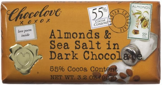 Chocolove Amonds & Sea Salt  in Dark Chocolate bar