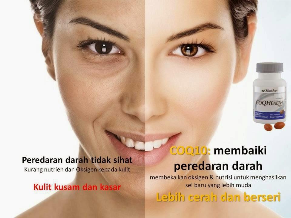 CoQ10 Health plus shaklee membantu menghasilkan kulit lebih cerah dan berseri