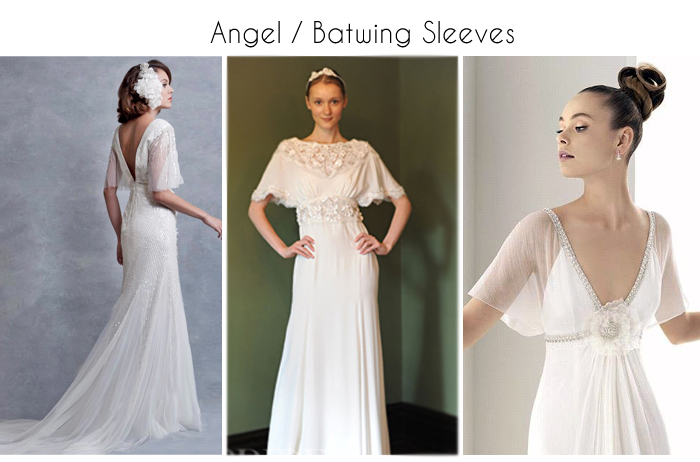 draped angel or batwing wedding gowns