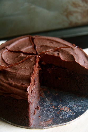 Crumbs and Cookies: chocolate cake with instant fudge frosting.