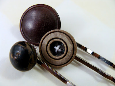 vintage button bobby pins in cocoa colors