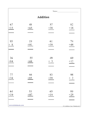 First grade addition worksheets