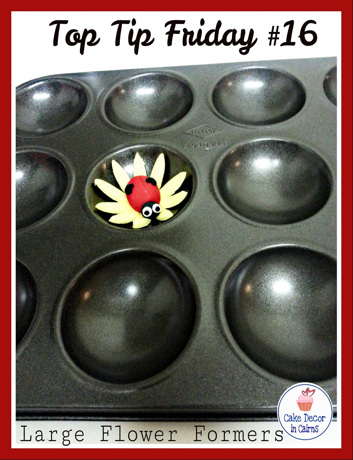 Using baking Trays as flower formers Cake Decor in Cairns Yellow Flower red lady bug Fondant