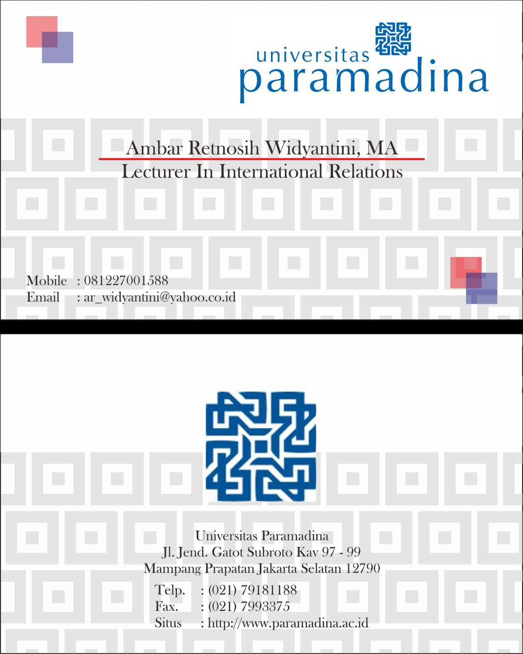 Cetak Kartu Nama Dosen Universitas Paramadina ~ ROGJA