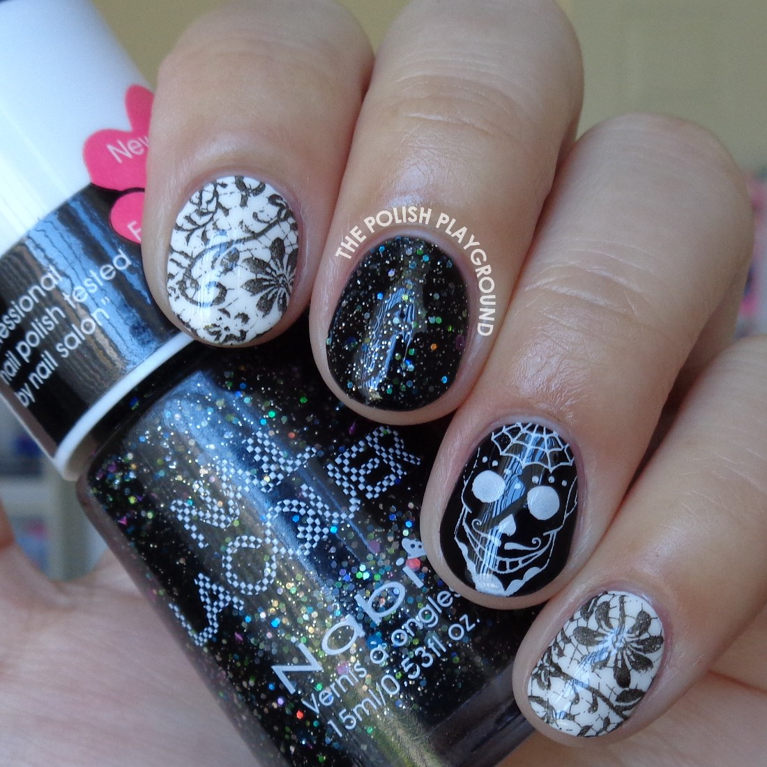 Skull and Lace Skittle Nail Art