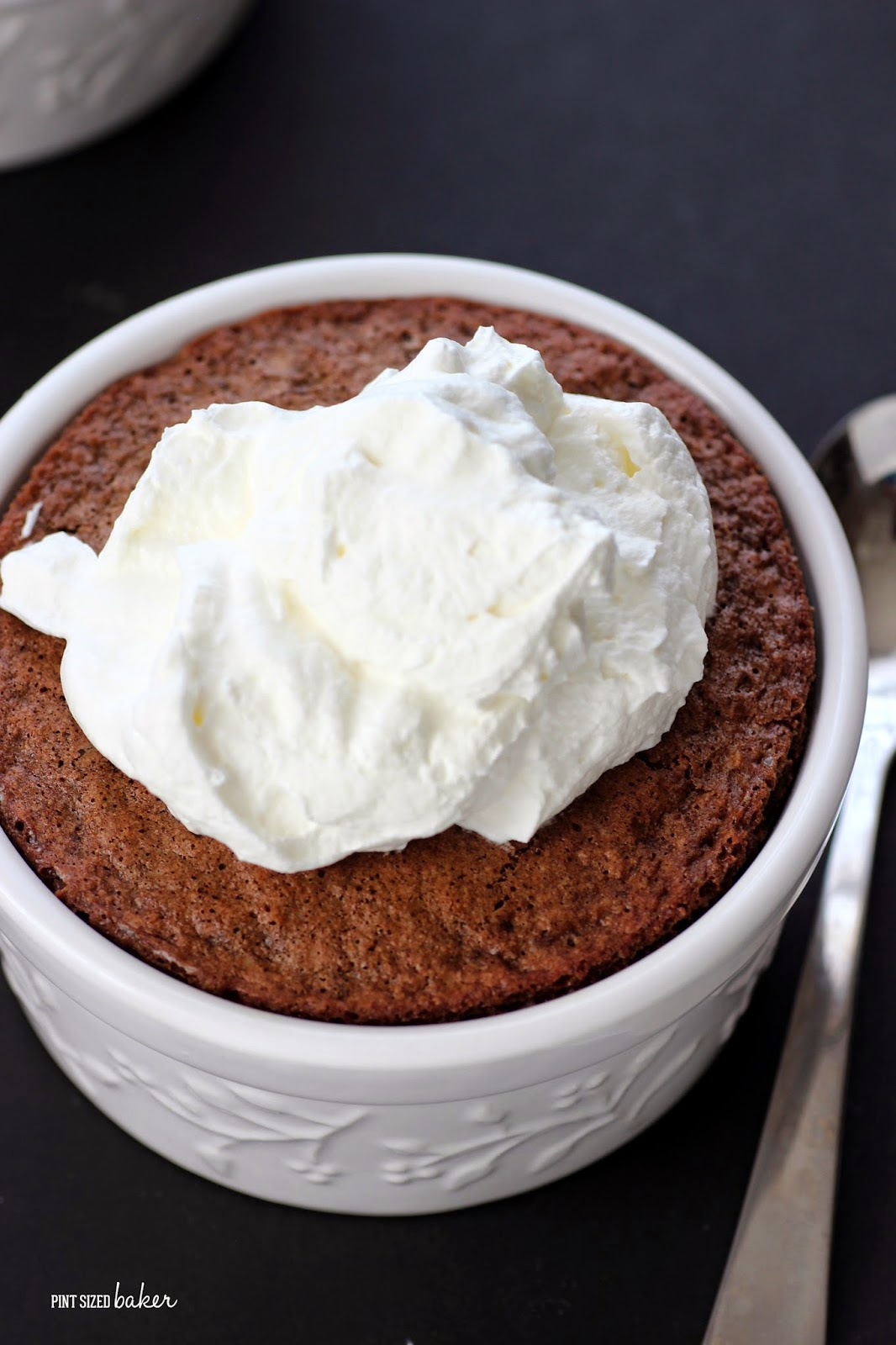 Perfect little individual Fudgy Cakes topped with sweeten whipped cream. It's just the right amount of chocolate goodness!