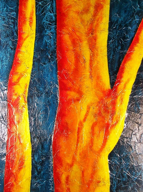 Trees in Orange Mixed Media
