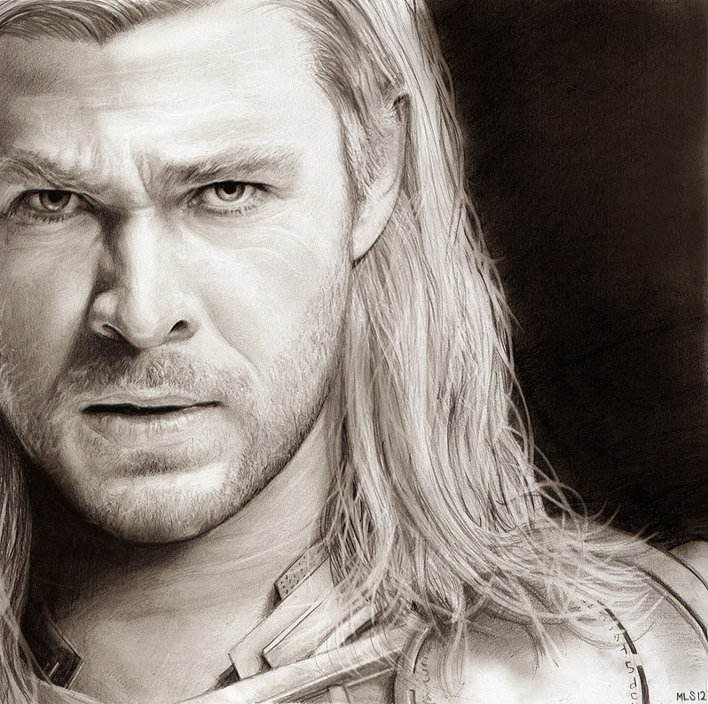 04-Thor-Chris-Hemsworth-Martin-Lynch-Smith-MLS-art-Celebrity-Drawings-www-designstack-co