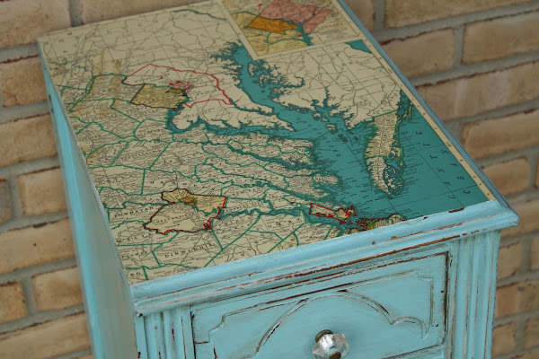 DIY turquoise map table, mod podged map top,
