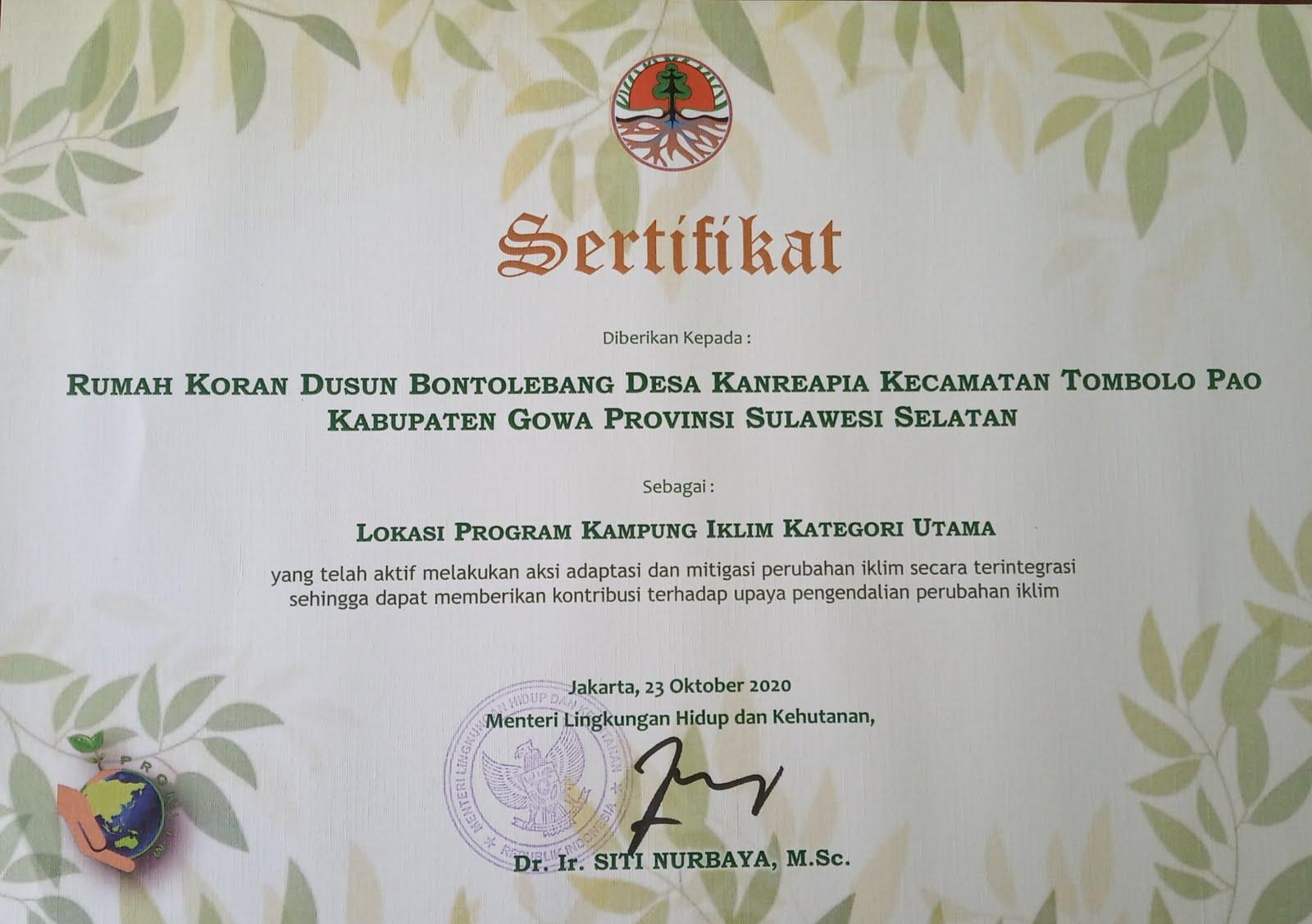 Penghargaan KAMPUNG IKLIM
