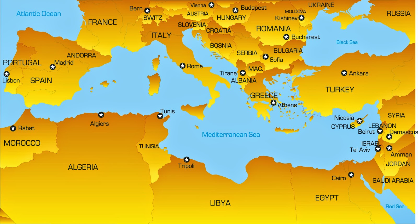 Middle east map mediterranean sea